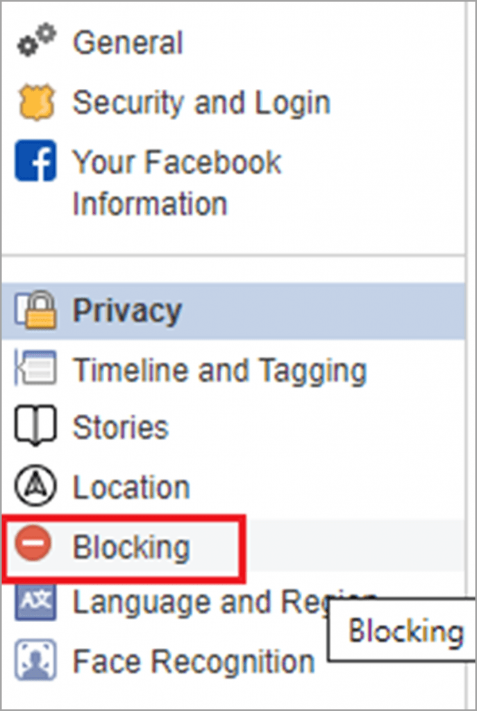 Find the Blocking Section to Block troll on Facebook for social media trolls