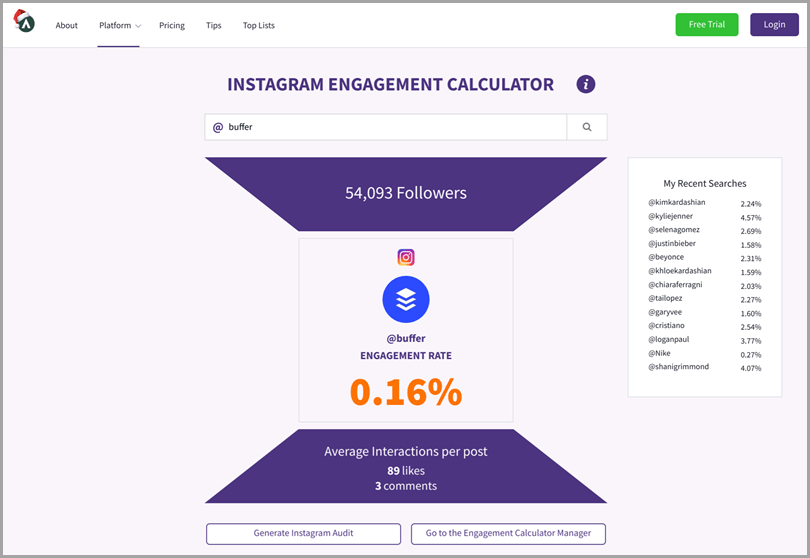 Instagram Engagement Calculator for Instagram content