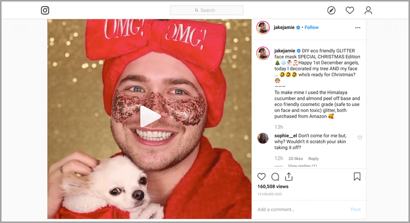 Jake Jamie show product application for Instagram content