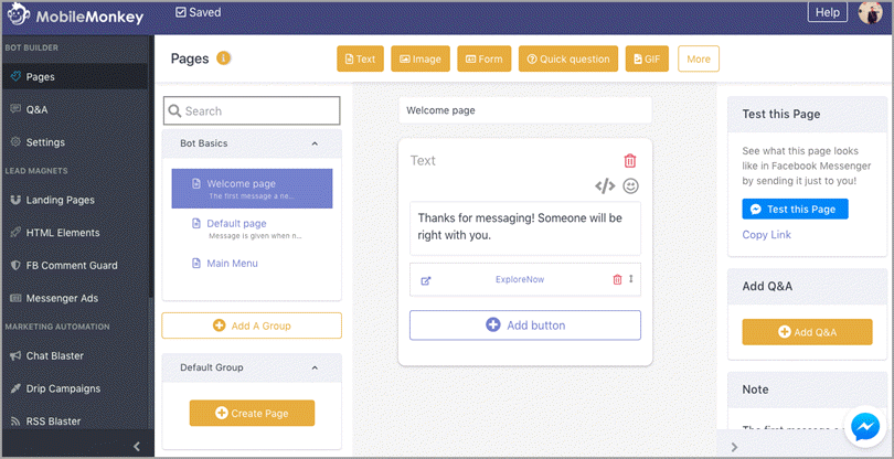 Mobile Monkey Chatbot Development Platform for subscription business