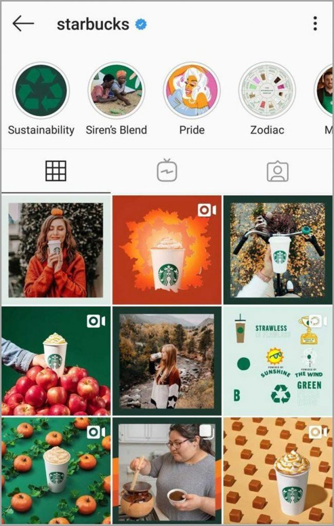 Starbucks for visual content marketing