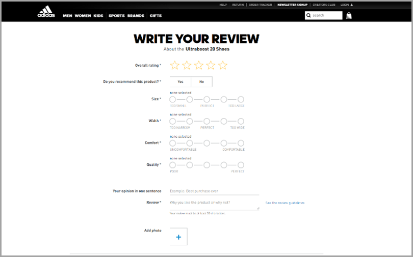 Adidas Review for ecommerce product reviews