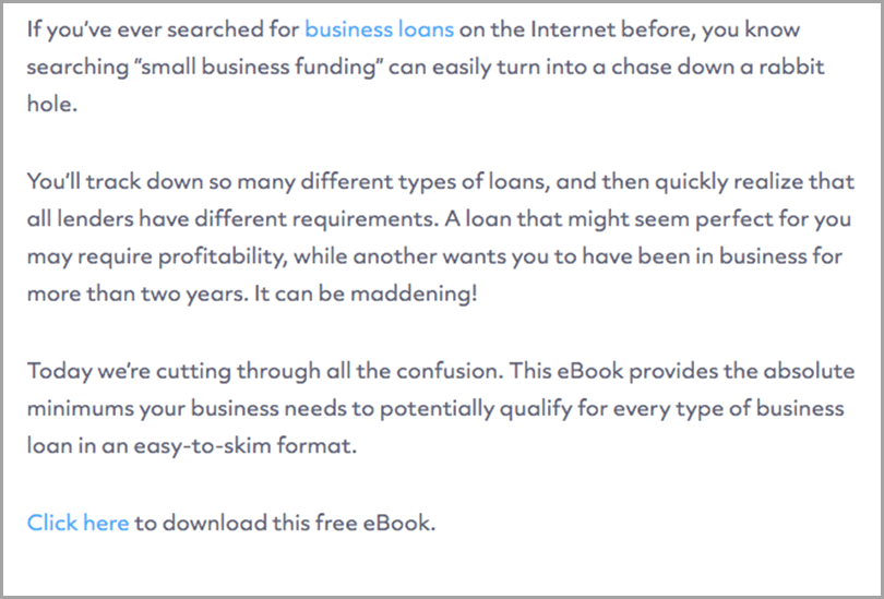 Business loan content for gated content
