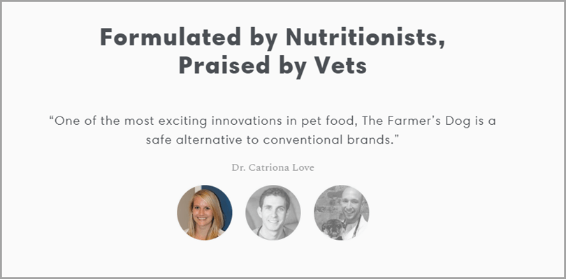 Formulated by Nutritionists, Praised by vets for ecommerce landing page