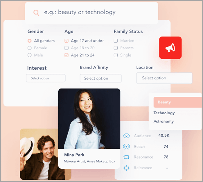 Girl and Boy with a hat in Traacker for niche-relevant influencers