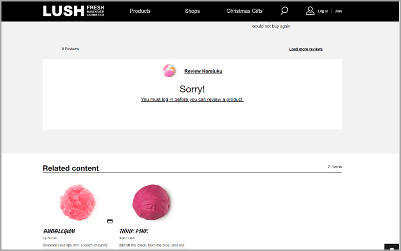 Lush for ecommerce product reviews