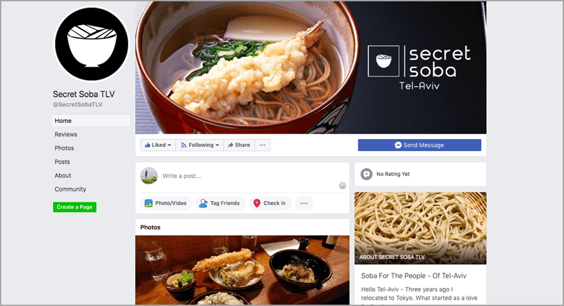 Secret Soba Facebook Page for turn your idea into a business