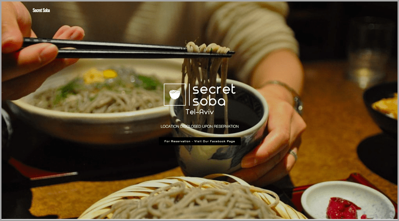 Secret Soba Website for turn your idea into a business