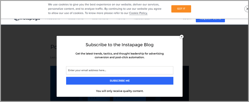 Subscribe Pop up for ux mistakes