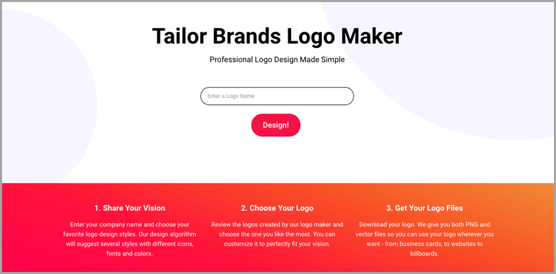 Tailor Brands Logo Maker for turn your idea into a business