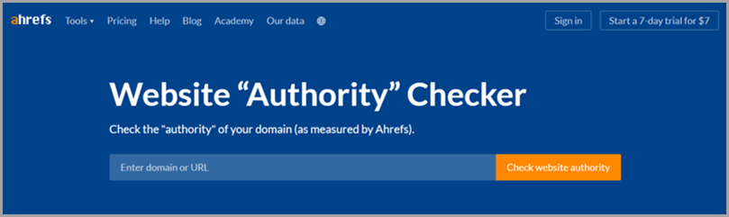 Ahref's website home page domain search for domain authority