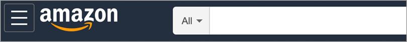 Amazon website logo and searchbar brand identity