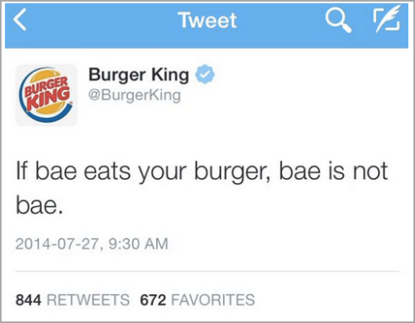 Burger King tweet for social media rules