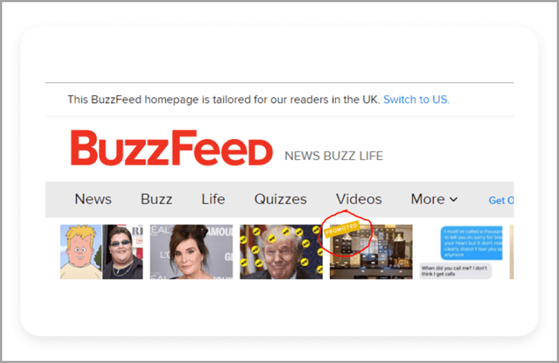Buzzfeed website news native ads for digital advertising trends