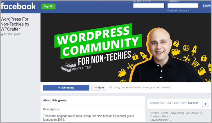 Facebook wordpress community group for non-techies strategy to drive more traffic to YouTube channel