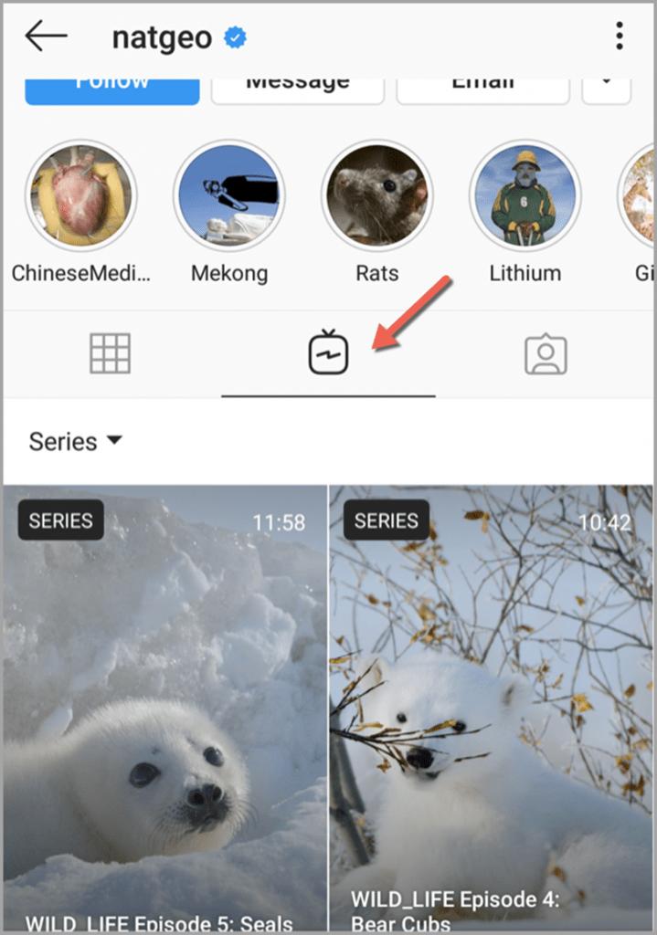 IGTV tab on Instagram accounts in using IGTV