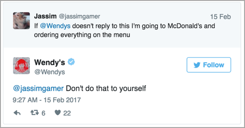 Jassim and Wendys Twitter messages for social media rules