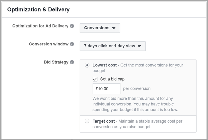 Optimization & Delivery to reduce Facebook ad costs