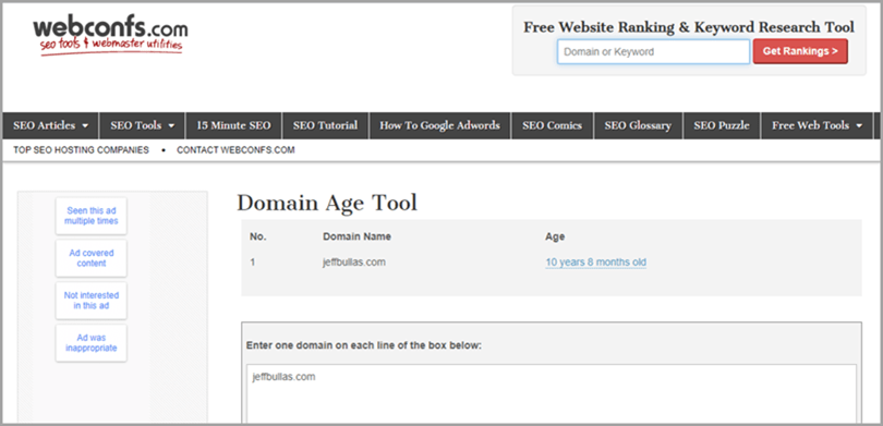 Webconfs.com free website ranking & keyword research tool for domain authority