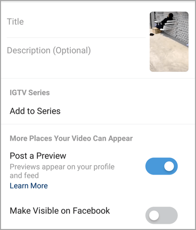 add title and other details in using IGTV