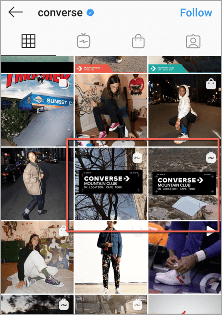 converse creates Instagram preview videos for using IGTV