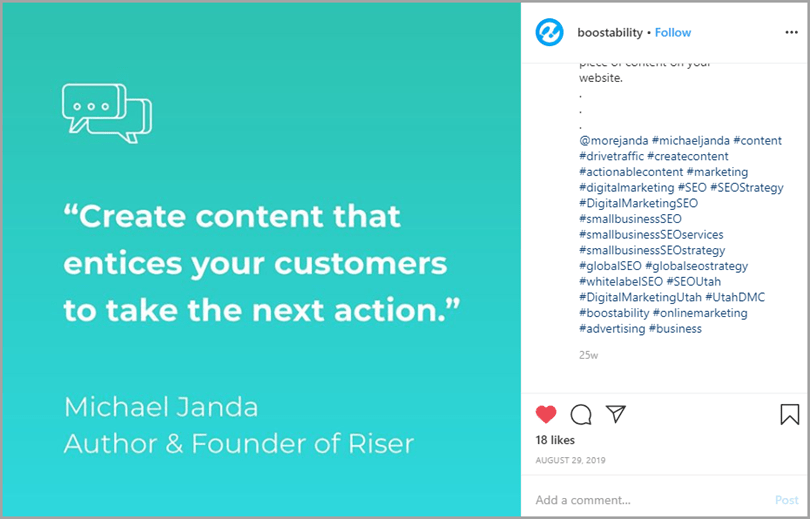 Boostability Instagram Post Quote by Michael Janda Writing Output
