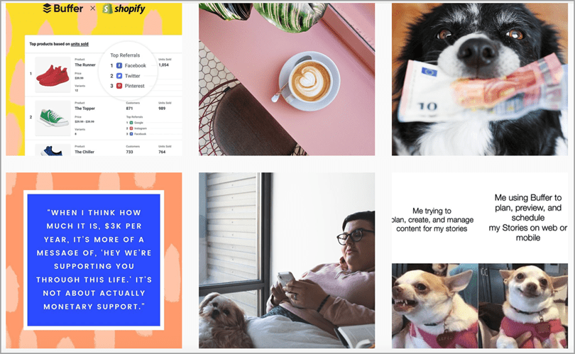 Buffers' Instagram feed strategy humour and dogs for Instagram marketing tips