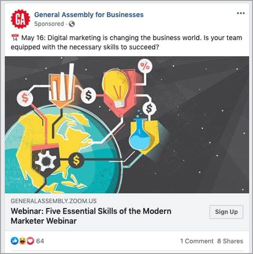 General Assembly promoting their webinar on Facebook to prevent webinar mistakes