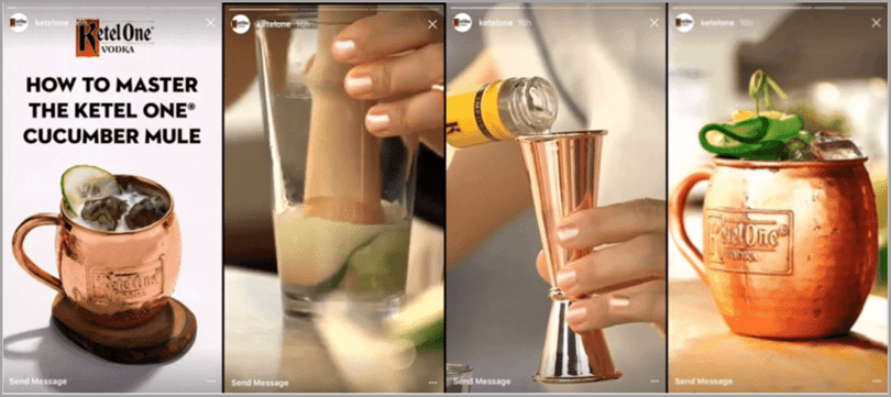 Ketel One IG story on how to master the ketel one cucumber mule for social media marketing trends