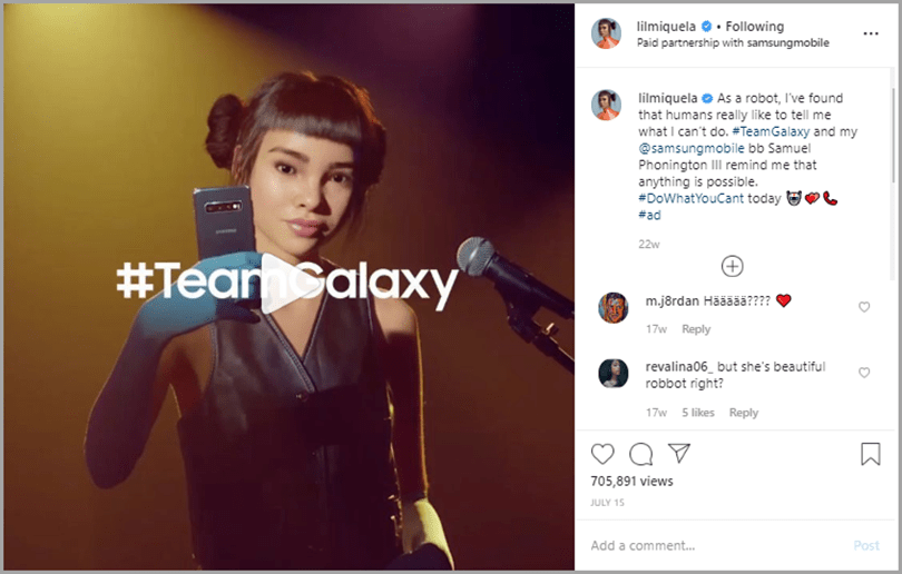 Lil Miquela endorsing the samsung galaxy phone for social media marketing trends
