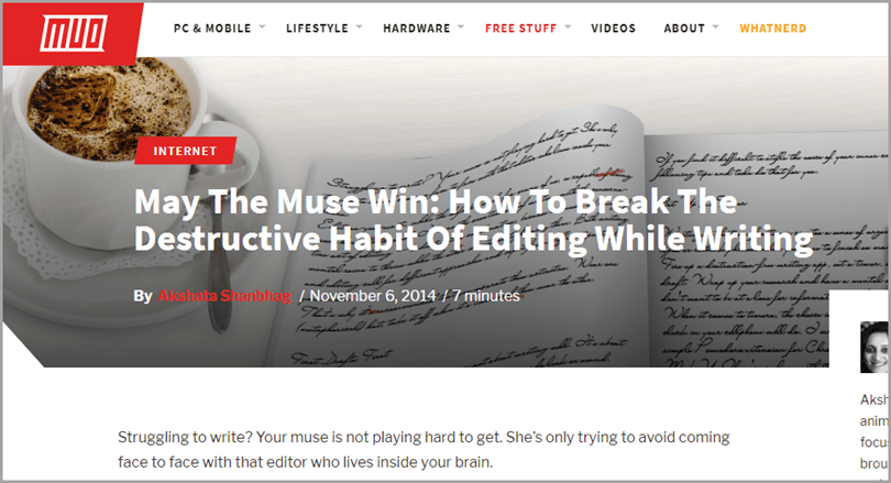 MUD Website Headline Take Off Your Editors Hat for Writing Output