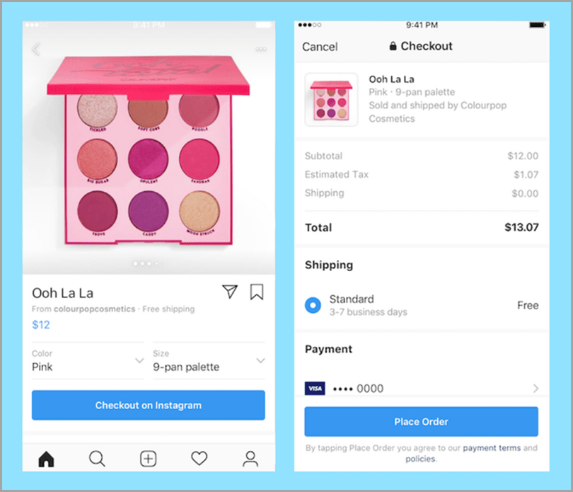 Ooh La La Instagram post pink makeup kit place order social media marketing trends