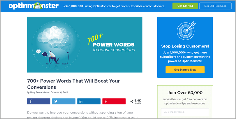 Optinmonster's 700+ Power Words That Will Boost Your Conversions Writing Output