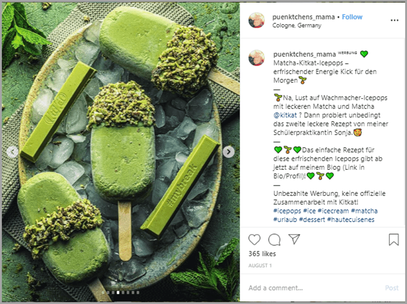 Puenktchens_mama Instagram post matcha kitkat icepops social media marketing trends
