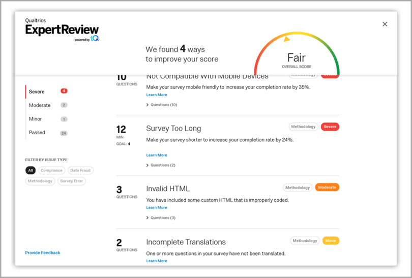 Qualtrics research core dashboard ExpertReview ways to improve score business intelligence tools