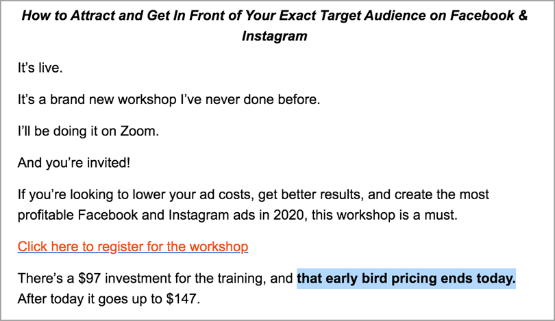 Rick Mulready early bird offer discount Ad targeting for digital product launch