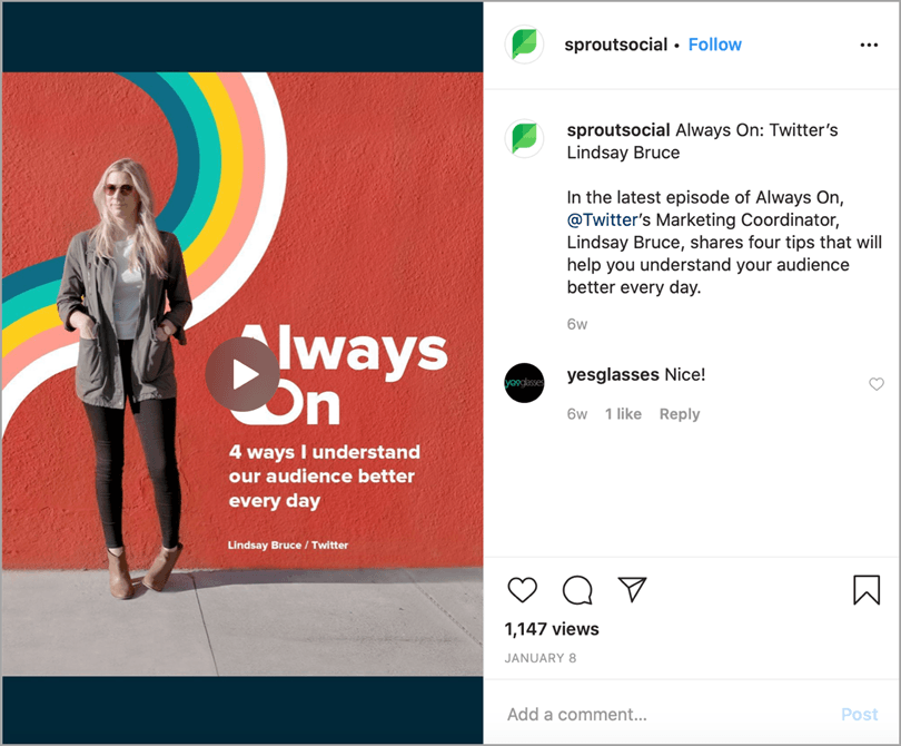 SproutSocial Instagram post video explaining how to do something used for Instagram marketing tips