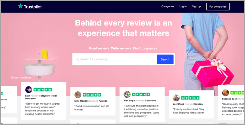 Trustpilot main page website's focus on legitimacy for conversion optimization