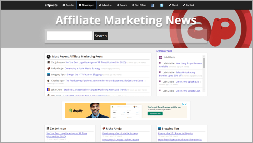 AffPost Newspaper online tool for affiliate digital marketing news