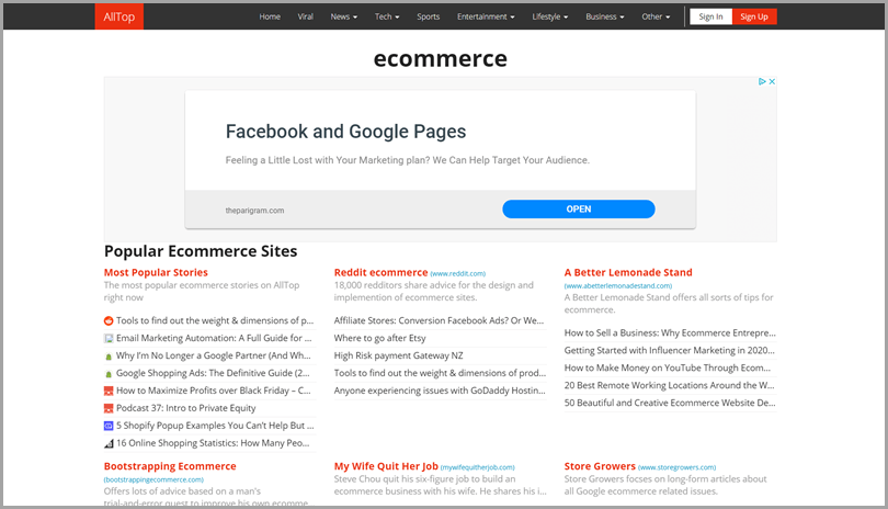 AllTop eCommerce and SEO online tool for digital marketing news