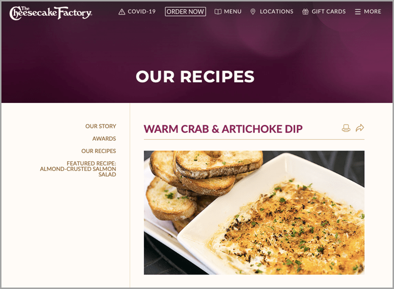Cheesecake factory content marketing duting covid-19 warm crab & artichoke dip