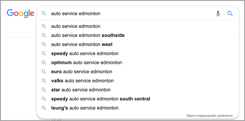 Google search auto service edmonton keyword research tactics
