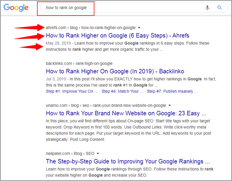 Keyword optimization Google search how to rank on google results SERP