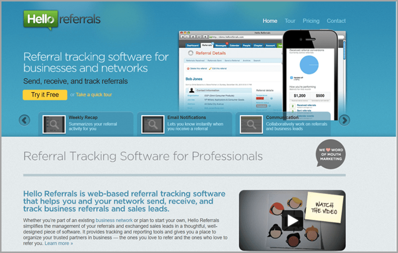 Low cost marketing tactics Hello referral website for referral tracking tool for professionals