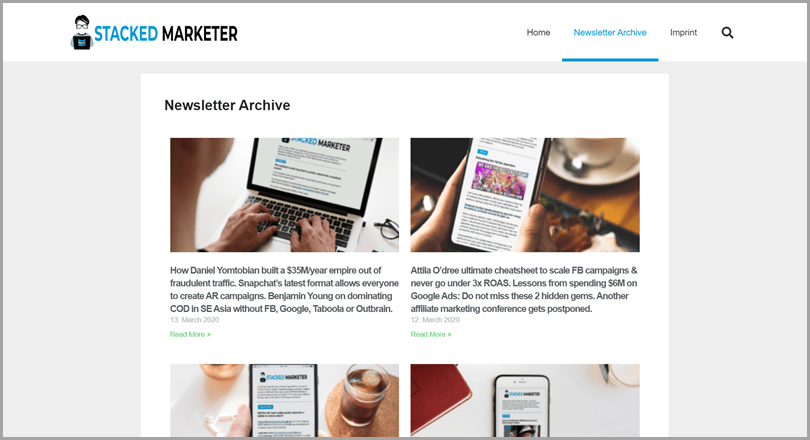 Stacked marketer tool for online digital marketing news