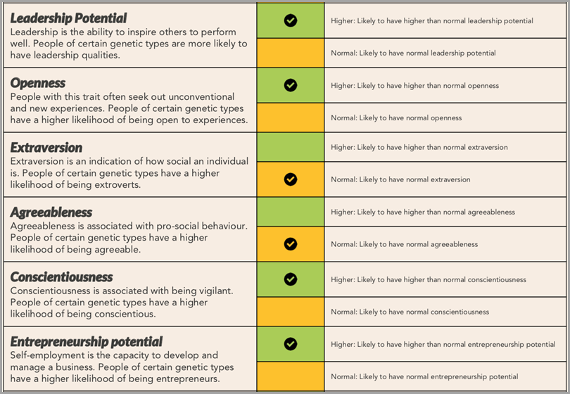 XCode Life personality traits report for skills of an entrepreneur