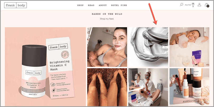 Frank Body user-generated instagram content for social proof elements