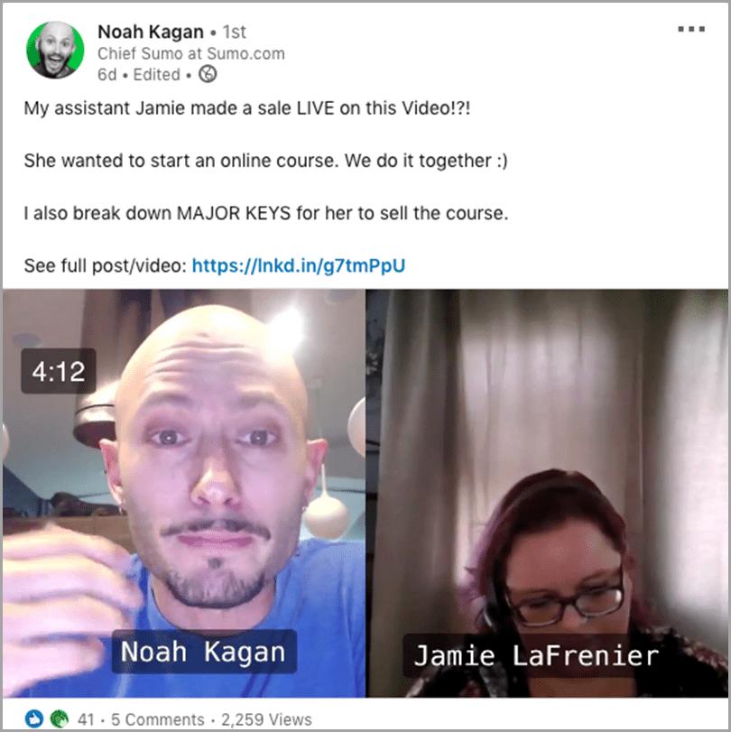 Noah Kagan with his assistant Jamie LaFrenier content plateau