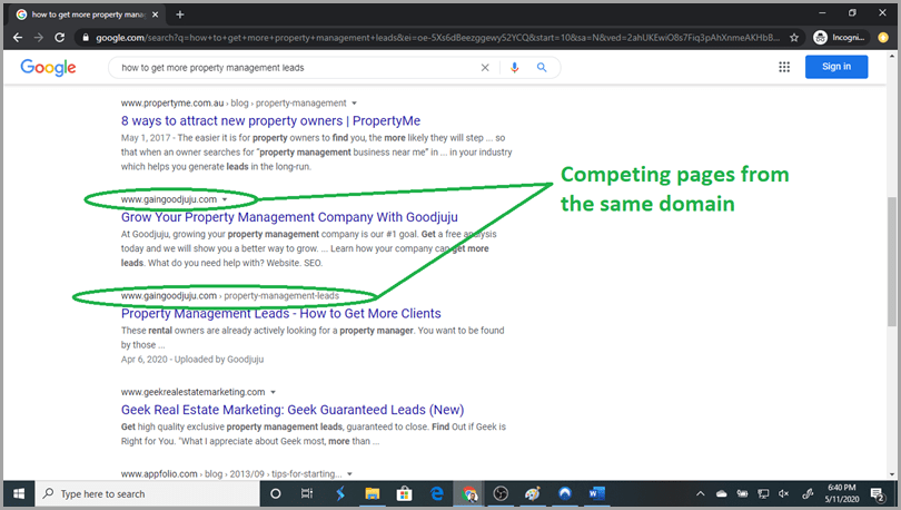 Pagination example competing pages from the same domain in google search