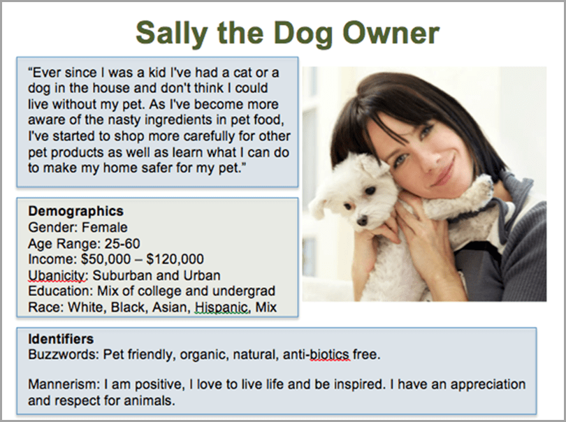Sally the dog owner design your own persona for ecommerce sales funnel